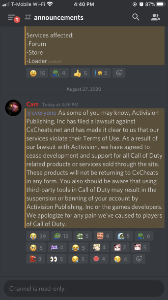 CXCheats' statement in response to Activision's legal proceedings