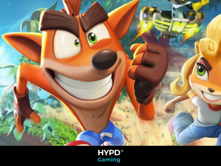 Crash and Coco running on ground which has come out of a phone in the background