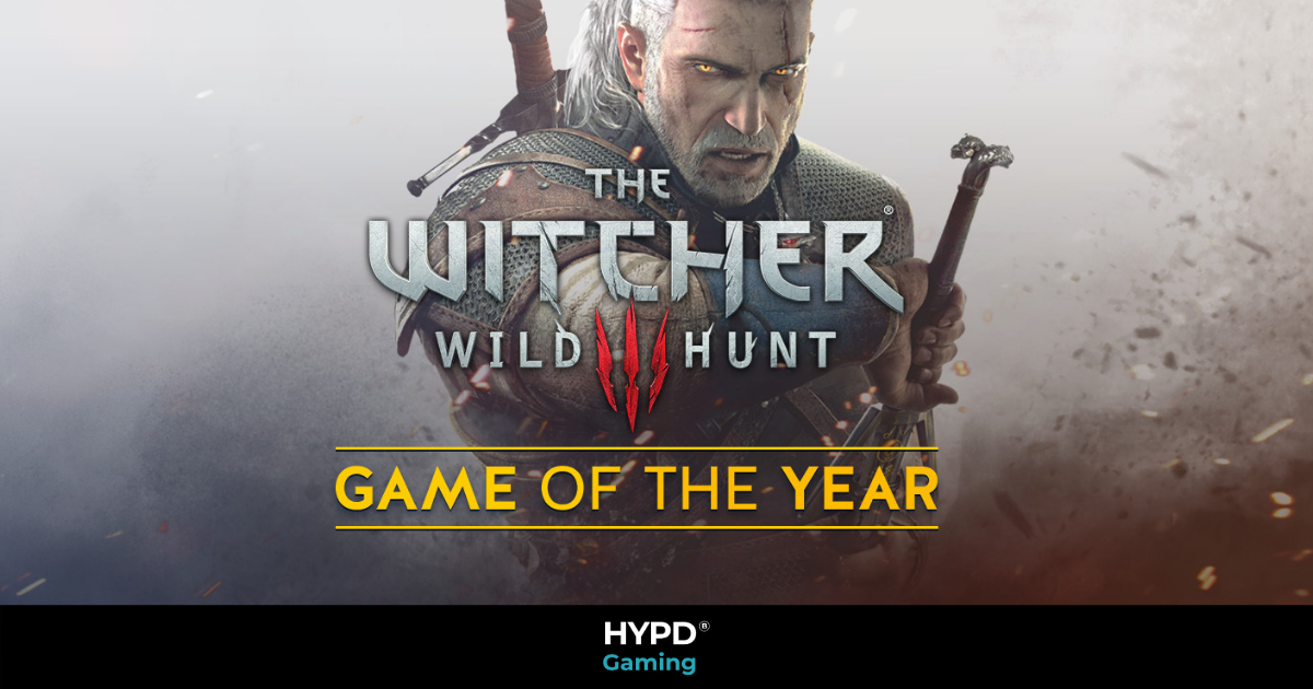 Geralt, the witcher drawing his sword with text infront and HYPD gaming branding aross the bottom